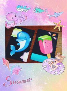 イルカとスイカアイスを描こう
